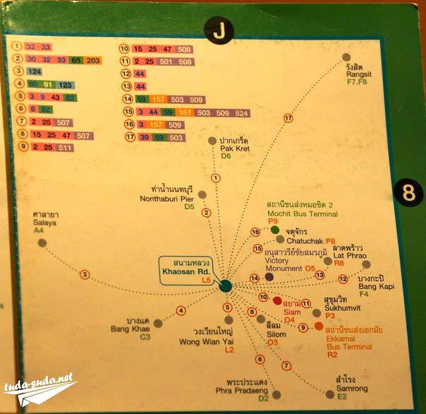 Автобусы Бангкока - карта