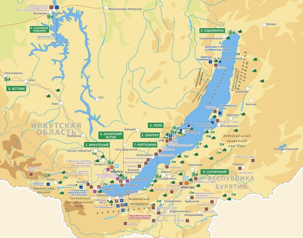 карта Байкала с достопримечательностями