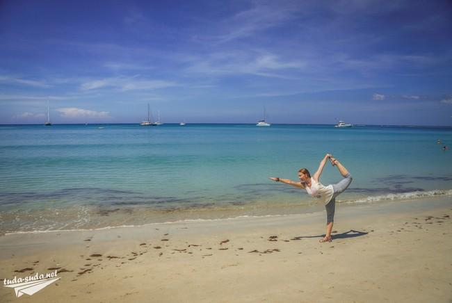 Phuket beach yoga