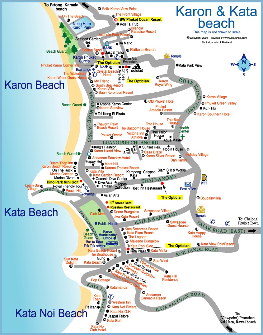 Карта пляжей Карон, Ката, Ката Ной
