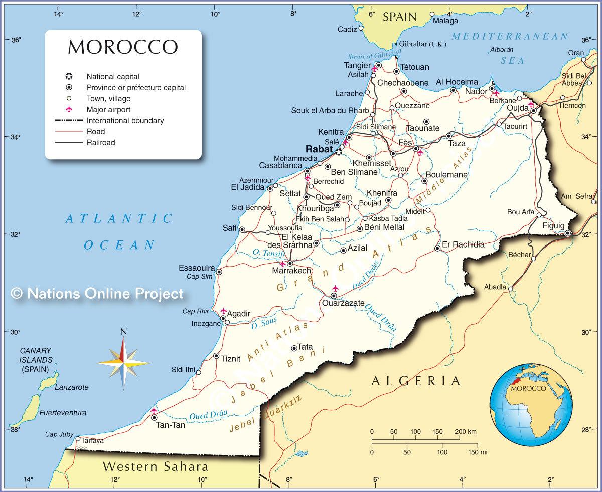карта автомобильных дорог марокко
