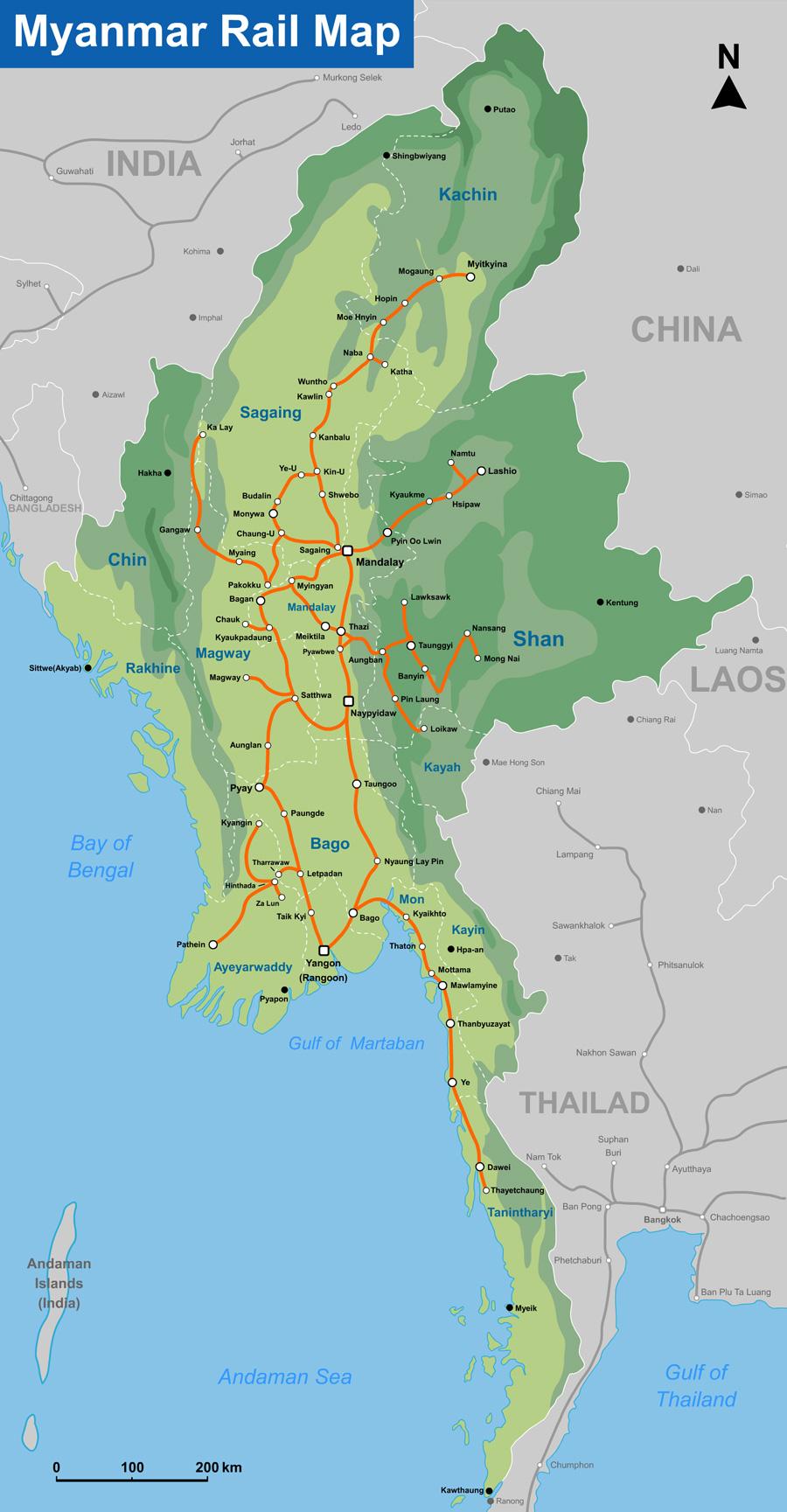 Схема железных дорог Мьянмы
