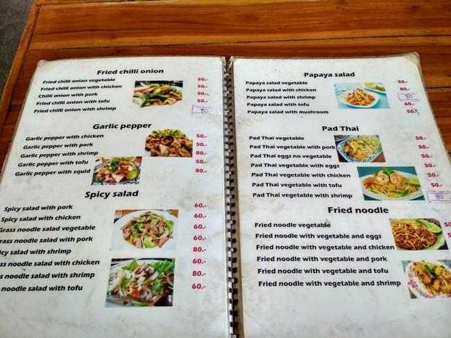 koh phangan prices food
