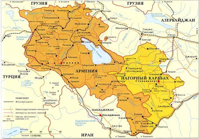 Схема железных дорог Армении
