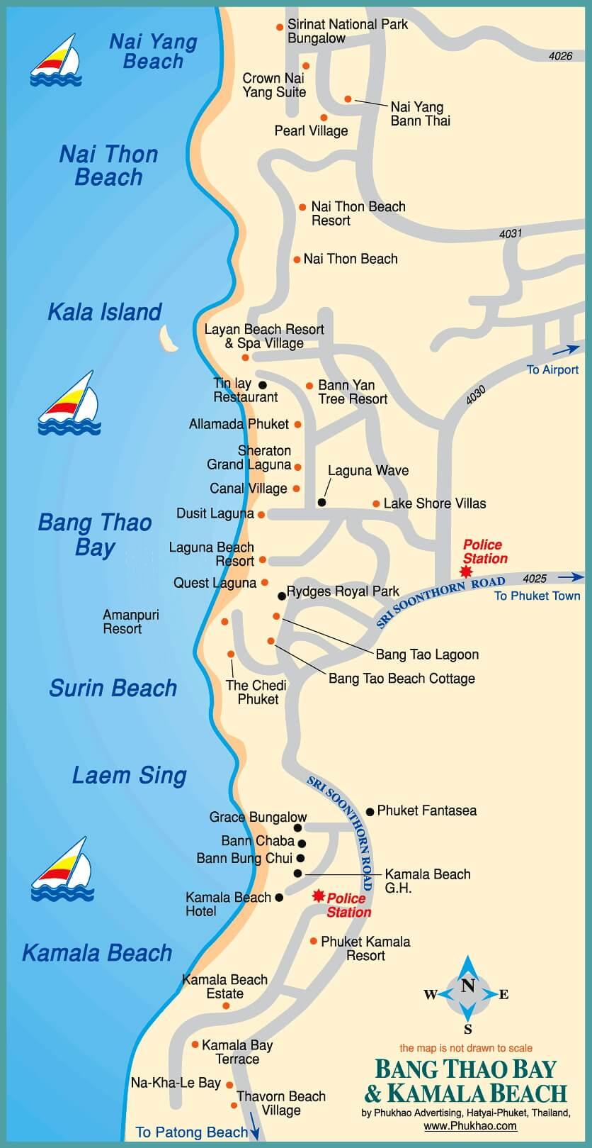 Карта Пхукета: пляжи Камала, Сурин, Банг Тао