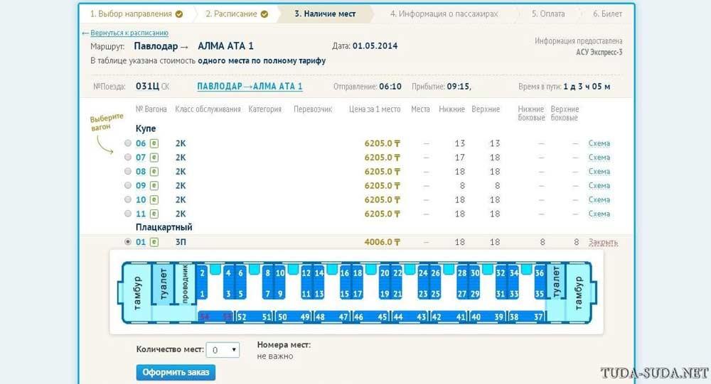 Купить билет на поезд в интернете Казахстан