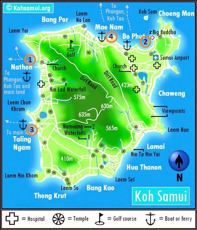 Пирсы Самуи карта