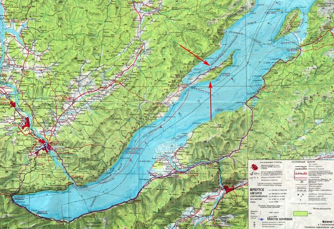 остров Ольхон на карте Байкала
