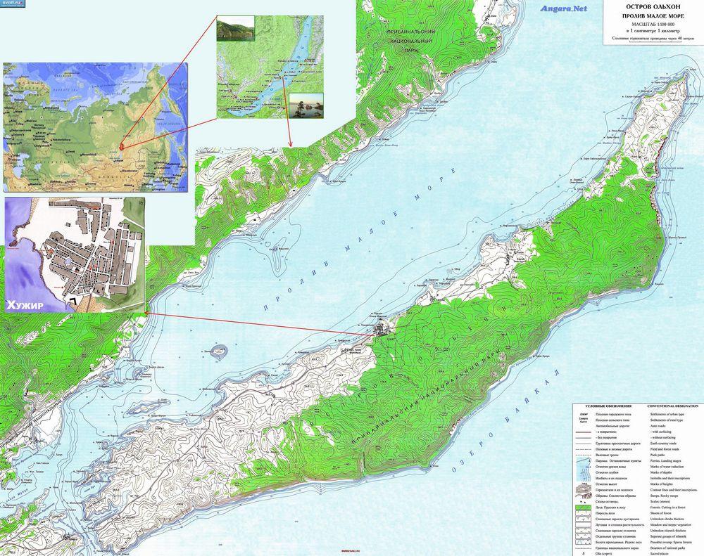 остров ольхон подробная карта