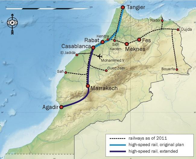 карта железных дорог Марокко