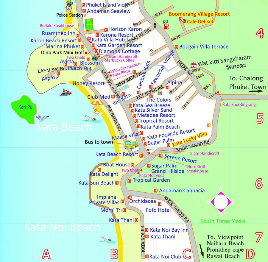 пляж Ката карта