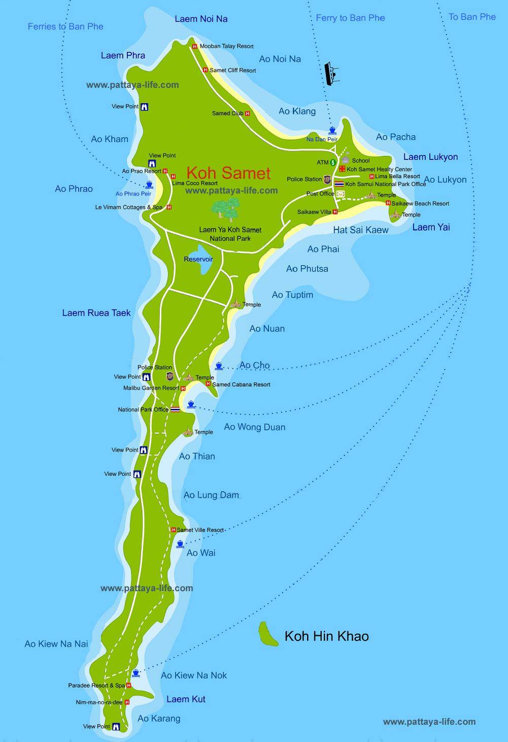 карта Самета с пляжами