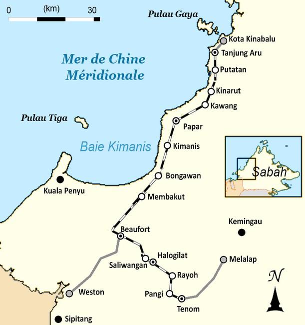 North Borneo Railway map