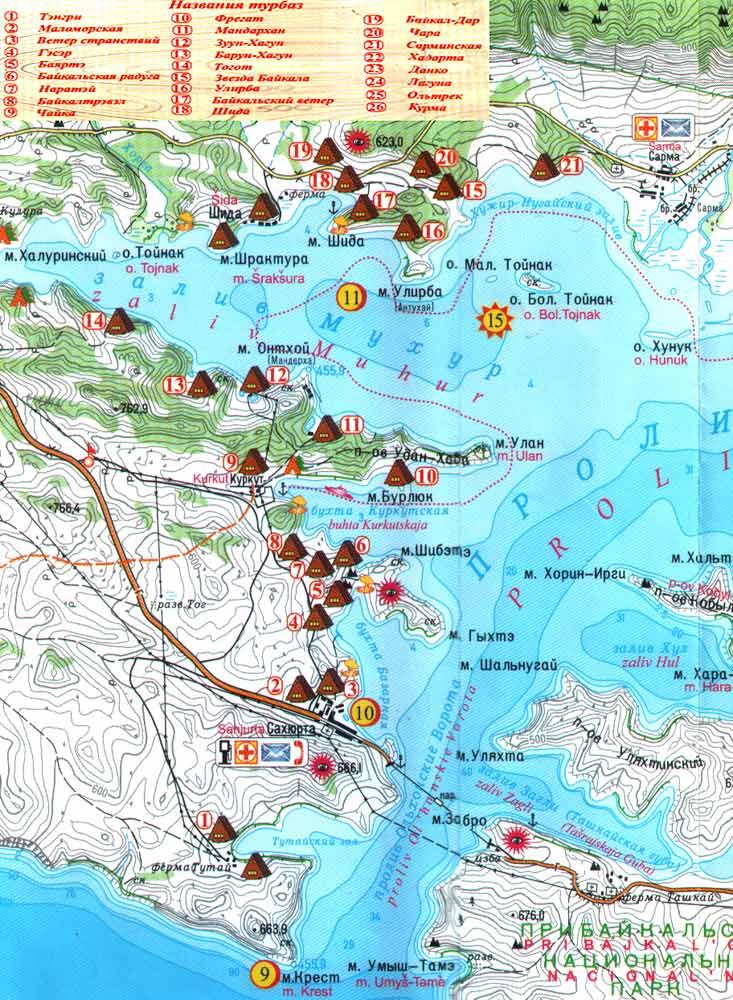 малое море байкал карта с базами отдыха
