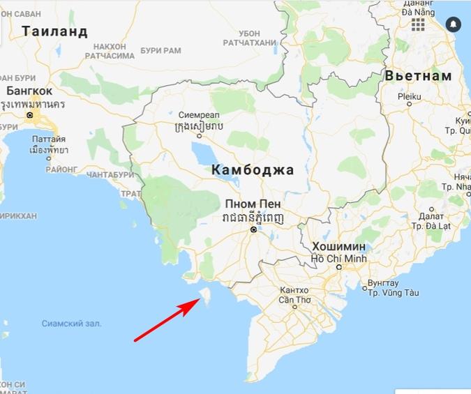 остров Фукуок на карте Вьетнама