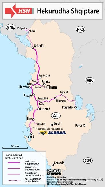 албания железные дороги схема