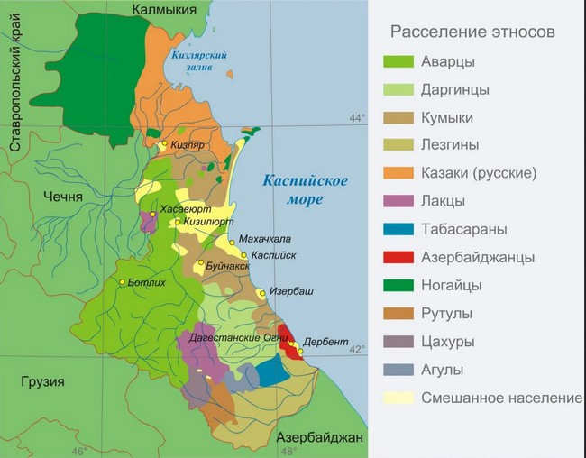 Карта этносов в Дагестане
