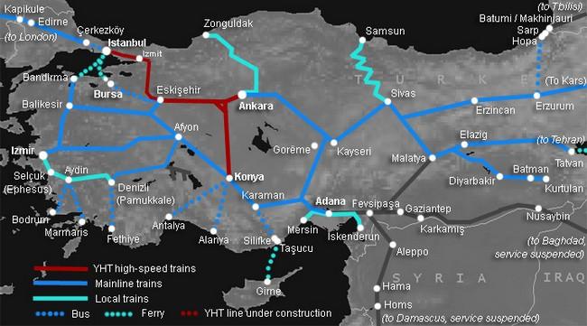 Схема ж/д Турции