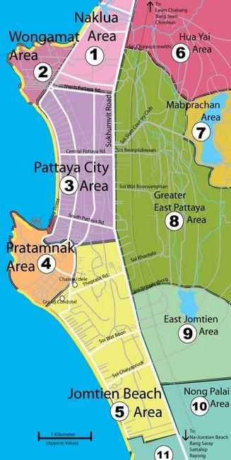 Районы Паттайя карта
