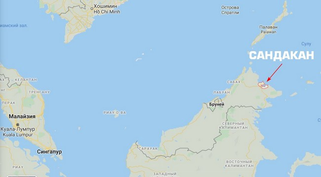 Сандакан на карте Малайзии