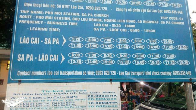 Расписание маршруток Лао Кай-Сапа