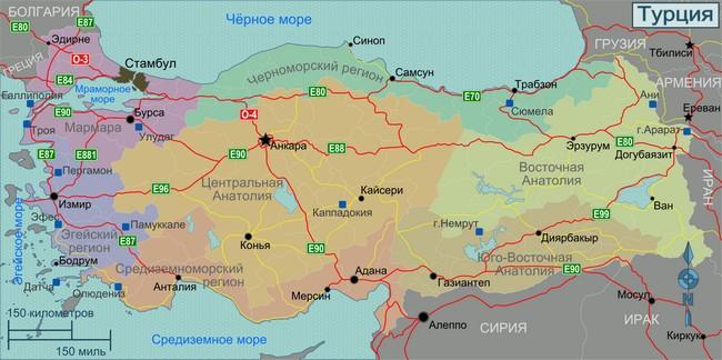 Регионы Турции карта